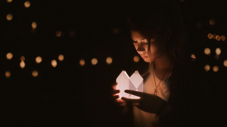 donker, licht, veilig, vrouw, lume