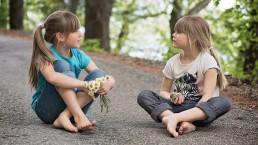 kinderen, praten, geloof, bloem