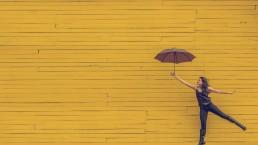 Lume, geel, vrouw, paraplu,