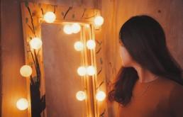 Vrouw, Spiegel, Lume, Licht