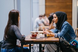 gesprek, Lume, tafel, vrouwen