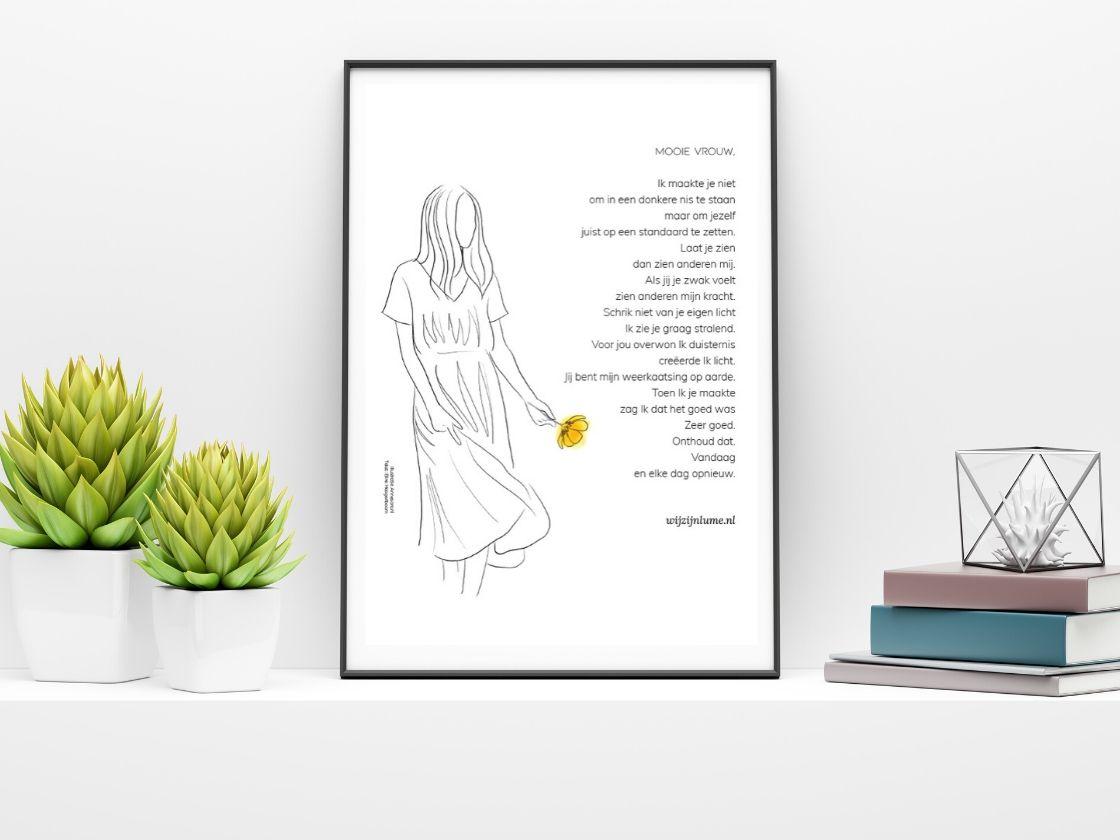 poster, vrouw, shop. christelijk