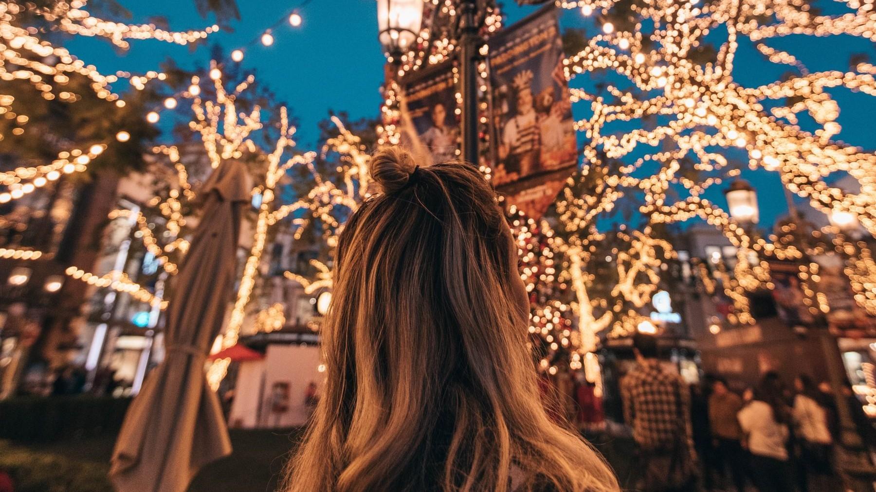 kerstlichtjes, lume, vrouw