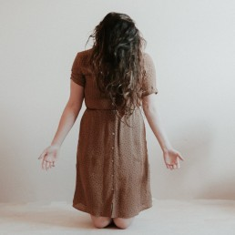 vrouw, lume, knielen, maria, handen