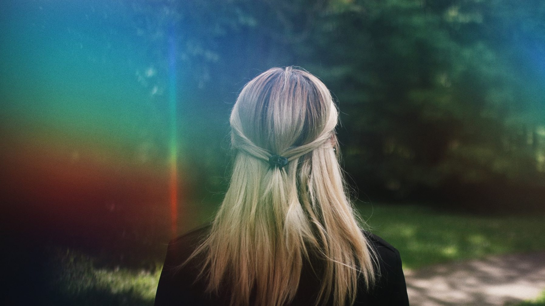 regenboog, vrouw, lume