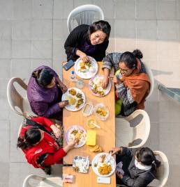 lume, vrouw, eten, praten, talk