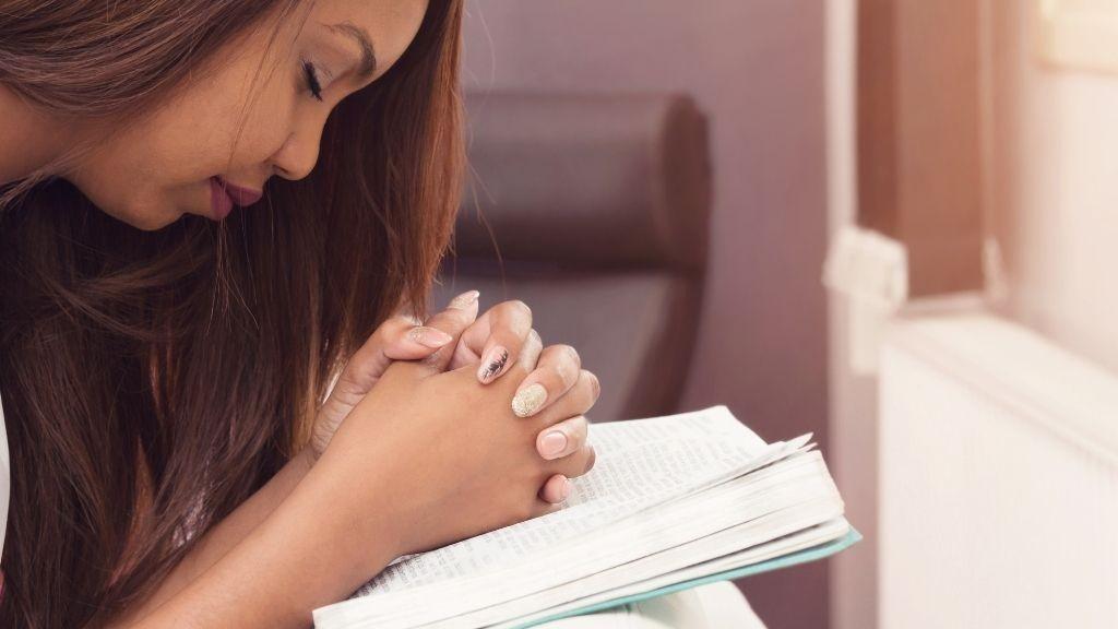 bidden, gebed, vrouw, lume