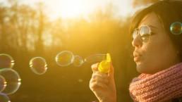 bubbel, prikken, lume, licht, vrouw