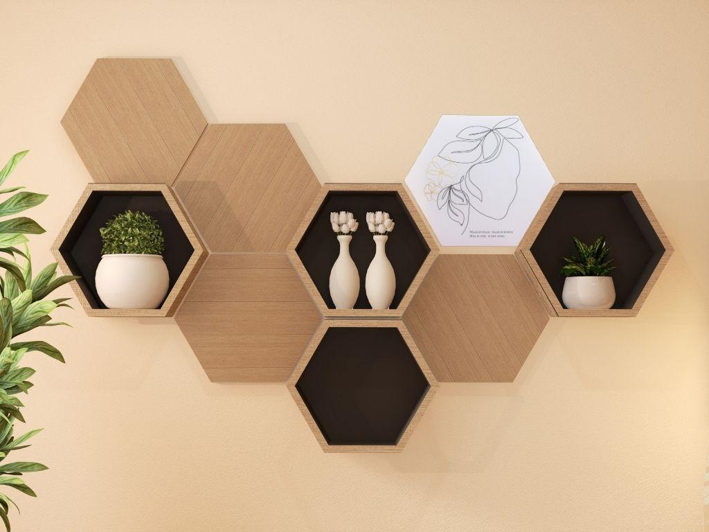 wanddeco, wanddecoratie, hexagon