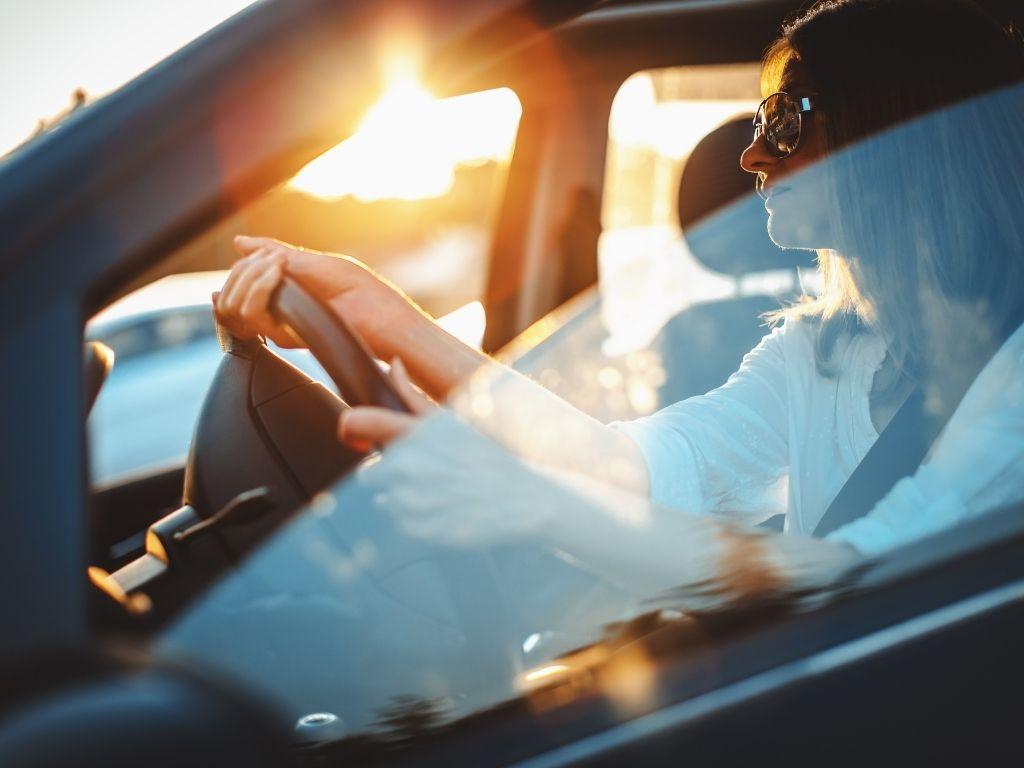 vrouw, licht, lume, verkeer