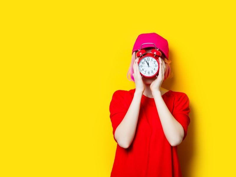 lume, vrouw, geel, tijd, druk