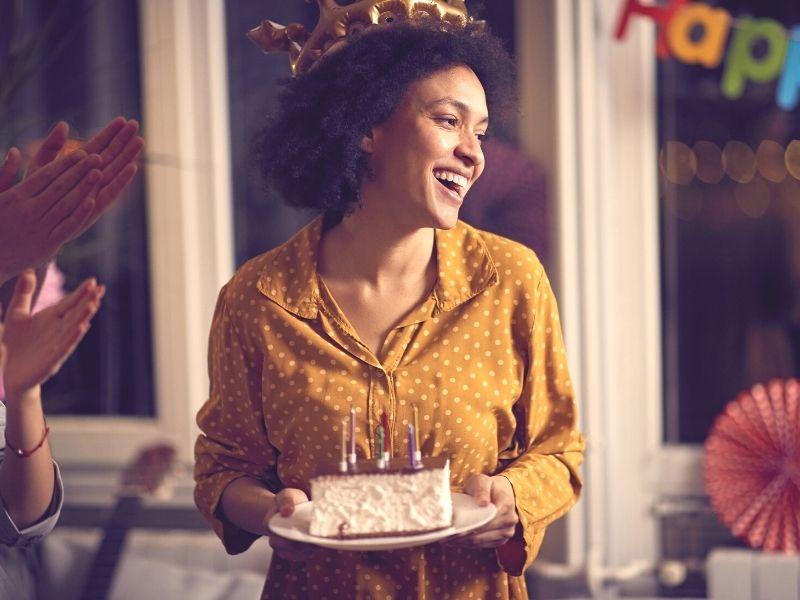 verjaardag, lume, vrouw, geel, tijd